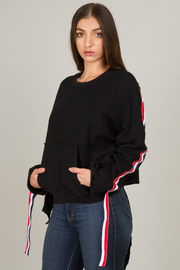 Crop Pullover With Accent At Sleeve