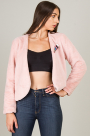 Soft Faux Fur Cropped Jacket With A Collarless Neckline And Front Fastens Via Two Hidden Hook