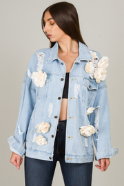 Floral Denim Jacket Features A Classic Design With Allover Floral Appliqué Detail