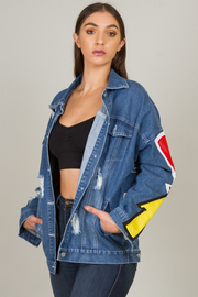 """Denim Jacket With """"The Angel Of My Life"""" Design On The Back"""