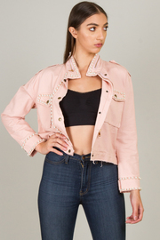 Denim Jacket With Pearl Accent