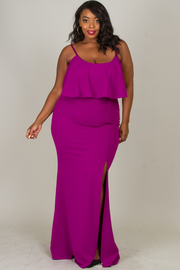 Plus Size Spaghetti Strap Ruffle Dress With Slit On Side