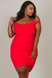Plus Size Off Shoulder Dress With A Ruched Seamed In The Middle