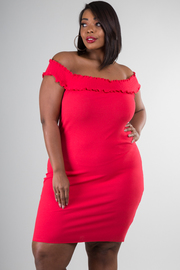 Plus Size Ruched Detail Off Shoulder Dress