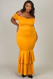 Long Dress With Dropped Ruffle