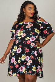 Plus Size Floral Slit At The Shoulder Dress