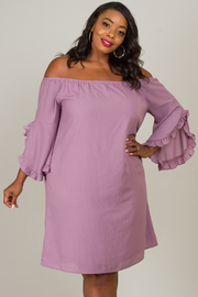 Plus Size Off Shoulder Bell Sleeve Dress
