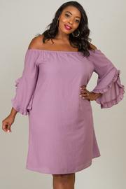 Plus Size Off Shoulder Bell Sleeve Dress