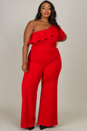 Plus Size One Shoulder Ruffle Jumpsuit