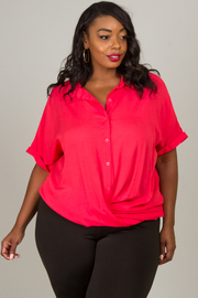 Plus Size Rolled Sleeve Button Down Top