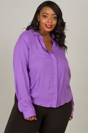 Plus Size Collar Top With Slit On Back