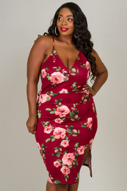 Plus Size V-Neck Spaghetti Strap Floral Dress