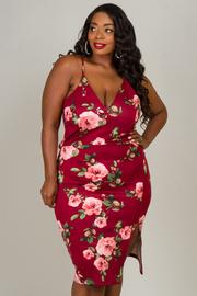 Plus Size V-Neck Spaghetti Strap Floral Dress