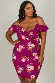 Plus Size Ruffled Spaghetti Strap Floral Dress