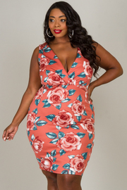 Plus Size V-Neck Sleeveless Floral Dress