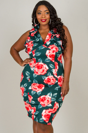 Plus Size Ruffled Neck Line Knee Dress