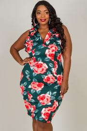 Plus Size Ruffled Neck Line Knee Dress