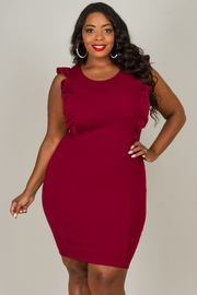 Plus Size Short Ruffled Sleeves Knee Dress