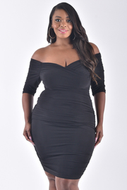 PLUS SIZE OFF SHOULDER MIDI BODY CONE DRESS
