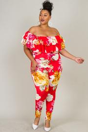 Plus Size Ruffle Floral Jumpsuit