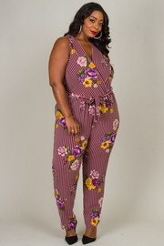 Plus Size Sleeveless V-Neck Tie At The Waist Jumpsuit