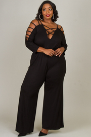 Plus Size Jumpsuit With Crisscross Accent At Sleeve And Chest