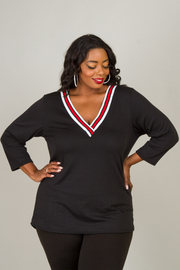 Plus Size V-Neck Long Sleeve Top