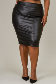 Plus Size Pleather Knee Skirt