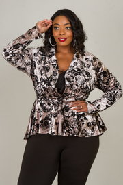 Plus Size Suede Long Sleeve One Button Jacket