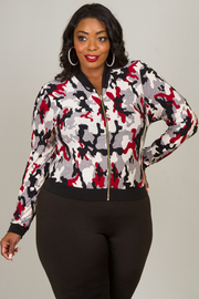Plus Size LONG SLEEVE CAMO PRINTED JACKET