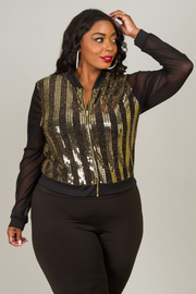 Plus Size SEQUINS AND MESH JACKET