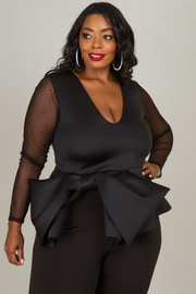 Plus Size DEEP V-NECK LONG SLEEVE PEPLUM WITH RIBBON TOP