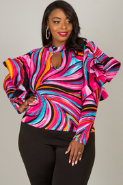 Plus Size MOCK NECK WITH KEY HOLE LONG SLEEVE WITH RUFFLED A CONTOUR LINE TOP