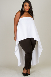 Plus Size LONG CASCADE TAIL ON THE BACK SOLID TOP
