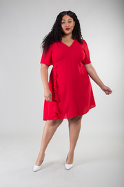 Plus Size Ruffle Accent On The Side Knee Dress