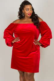 Plus Size Off The Shoulder Long Bell Sleeve Dress