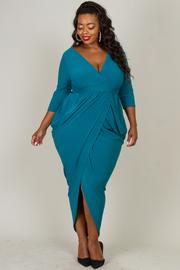 Plus Size Deep V-Neck Over Lap Drape Dress