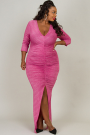 Plus Size 3/4 Sleeve Ruched With Slit On Front Long Dress
