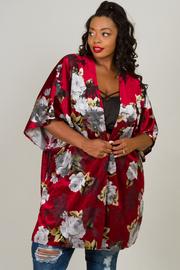 Plus Size Long Floral Cardigan