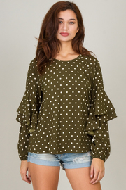 Long Ruffle Sleeve Top With Round Neck Line