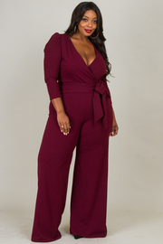 Plus Size Deep V-Neck Tie At The Waist Jumpsuit