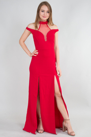 Grecian Neck Line Long Dress With Slit On Sides