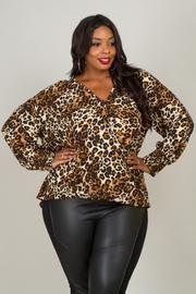Plus Size V-Neck Long Sleeve Leopard Blouse