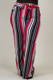 Plus Size Wide Leg Tie At The Waist Pants