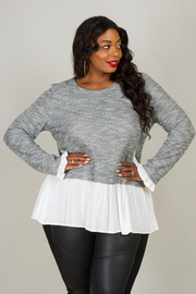 Plus Size Long Sleeve Top With A Dropped Waist