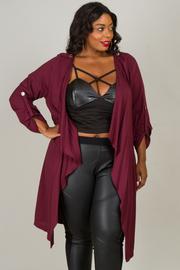 Plus Size Drape Long Sleeve Cardigan