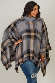 Plus Size Turtle Neck Line Ponco