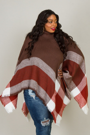 Plus Size Cow Neck Poncho