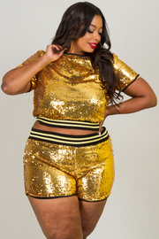 Plus Size Sexy Sequin Two Piece Short Sleeve Crop Top And Shorts