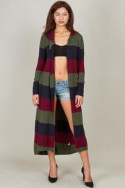 Long Hooded Open Cardigan